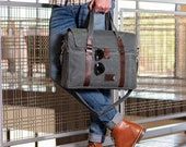 Waxed Canvas Laptop Messenger Bag - Pre-Order (Ships Within 4-6 Weeks) - Personalized Gift for Him, Christmas Gift, Made in the USA