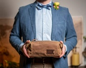 Groomsmen Gift: Personalized Waxed Canvas Dopp Kit, Expandable Monogrammed Toiletry Bag, Unique Gift for Him, Anniversary Gift, Made in USA