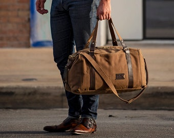 1d8540fcb39 495 Men s Weekender Bag, Personalized Duffle Bag in Waxed Canvas, Carry On  Travel Bag, Valentine s Day Gift for Him - Made in USA
