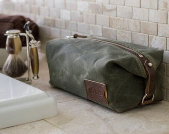 Personalized Dopp Kit: Expandable Men's Toiletry Bag, Monogrammed Anniversary Gift for Him, Waxed Canvas, Olive Green, Made in the USA