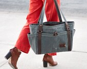 Large Waxed Canvas Carryall Tote Bag - Large Diaper Bag with 6 Pockets, Gift for Her, Made in the USA
