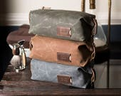 Expandable Men's Dopp Kit, Personalized Waxed Canvas Toiletry Bag, Monogrammed Shaving Kit, Father's Day, Gift for Him, Made in the USA