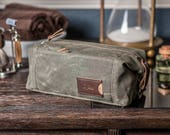 Personalized Toiletry Bag for Men: Expandable Waxed Canvas Dopp Kit with Multiple Pockets, Monogrammed Anniversary Gift, Made in USA