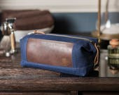 Personalized Dopp Kit: Convertible Toiletry Bag in Navy Blue, Water-Repellent Waxed Canvas, Monogrammed Gift - No. 321 (Made in the USA)