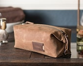 Personalized Dopp Kit: Expandable Men's Toiletry Travel Bag in Brown Waxed Canvas, Second Anniversary Gift for Him, Made the USA