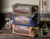 Groomsman Gift: Personalized Dopp Kit, Convertible Toiletry Bag, Monogrammed Travel Case, Waxed Canvas, Leather - No. 321 (Made in the USA)