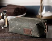 Personalized Dopp Kit: Convertible Men's Toiletry Bag, Monogrammed Gift for Him, Waxed Canvas, Olive Green - No. 345 (Made in the USA)
