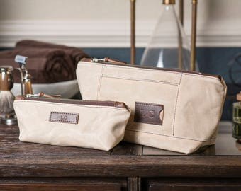 Monogrammed Toiletry Bag Set: Personalized Cosmetic Bags in Natural Waxed Canvas, Wedding Gift - No. 317 & No. 275 (Made in USA)