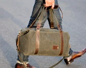 Men's Waxed Canvas Duffle Bag, Expandable Personalized Weekender Bag, Gym, Carry-On Overnight Bag, Anniversary Gift for Him, Made in the USA
