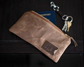 Personalized Flat Zipper Pouch: Passport Travel Organizer in Waxed Canvas, Brown, Monogrammed Graduation Gift, Gift for Him, Made in USA