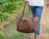 Waxed Canvas Diaper Bag: Large Tote Bag with 6 Pockets, Personalized Mother's Day Gift, Weekender, Travel - No. 521 (Made in the USA)