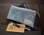 Waxed Canvas Flat Zipper Pouch: Personalized, Passport, Travel, Organizer, Slate Gray - No. 239 (Made in the USA)
