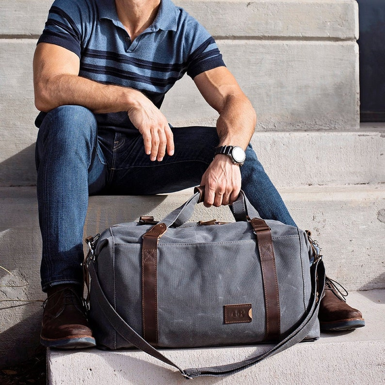 f05f1f34c Waxed Canvas Weekender Bag for Men, Personalized Duffle Bag, Monogrammed  Carry On Bag, Graduation Gift, Back to School Gift, Made in USA
