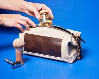 Gift for Him: Personalized Expandable Dopp Kit, Waxed Canvas and Leather Toiletry Bag, Groomsmen Gifts, Made in USA