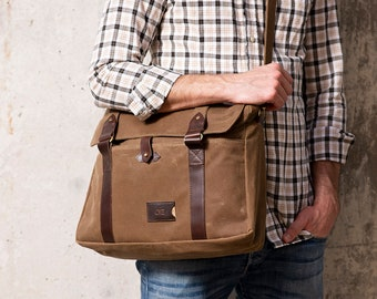 Men's Waxed Canvas Messenger Bag - Personalized Laptop Bag, Gift for Him, Christmas Gift, Made in USA