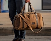Weekender Bag for Men: Expandable Waxed Canvas Duffle Bag, Personalized Gift for Him, Made in USA