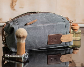 Personalized Dopp Kit: Expandable Waxed Canvas Toiletry Bag, Monogrammed Graduation Gift for Him, Made in USA