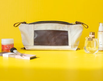 Personalized Waxed Canvas Toiletry Bag: Expandable Dopp Kit, Mother's Day Gift, Gift for Her, Made in USA