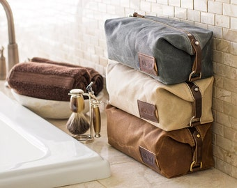 Personalized Groomsmen Gift: Waxed Canvas Dopp Kit, Expandable Toiletry Bag for Men, Made in USA