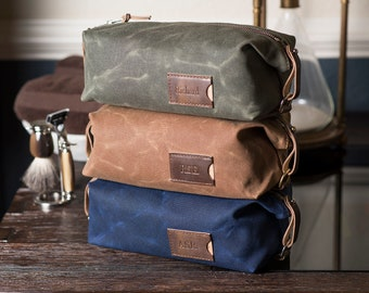 Personalized Groomsmen Gift: Toiletry Bag, Expandable Waxed Canvas Dopp Kit for Men, Made in USA