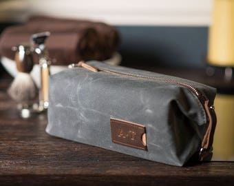 Corporate Gift: Personalized Waxed Canvas Dopp Kit, Expandable Toiletry Bag, Made in USA
