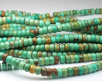 6mm Natural Turquoise Beads Rondelle Beads 8 or 16 Inch STRAND
