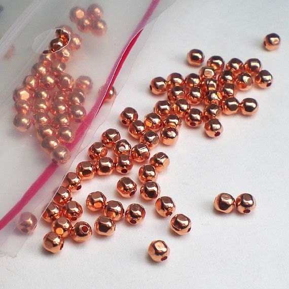 144 PCS 4 MM SOLID COPPER BRIGHT RONDELLE BEAD