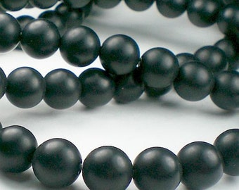 Matte Beads Black Onyx 8mm Full Strand 50 Beads