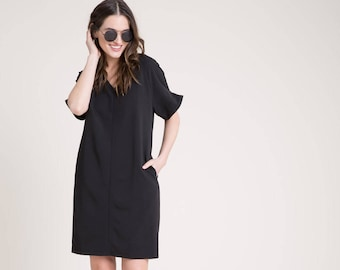 Oversize Dress / Unique Dress / Black Dress / Loose Dress / Casual Dress / Business Casual Dress / Marcellamoda - MD0826
