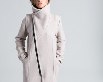 Stylish Jacket / Asymmetric Jacket / Trench Coat / Wool Jacket / High Collar Coat / Nude Coat / Winter Coat / Marcellamoda - MC0786