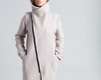 29799251cf4 Stylish Jacket   Asymmetric Jacket   Trench Coat   Wool Jacket   High  Collar Coat   Nude Coat   Winter Coat   Marcellamoda - MC0786