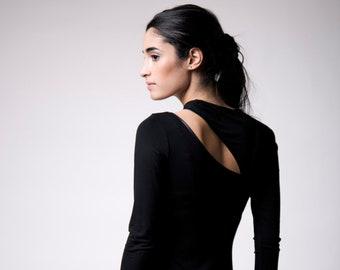 Off Shoulder Blouse, Cut Out Top, Long Sleeve Cocktail Top, Women's Asymmetric Blouse, Cold Shoulder Top, Rihanna Top, Marcella - MB0133