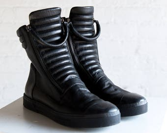 Leather Sneaker Boots, Platform Boots, Winter Boots, Ankle Boots, Women's Black Boots, Zipper Shoes, Karma Boots, Marcella - MS0984