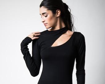 Off Shoulder Blouse, Cocktail Top, Off Shoulder Top, Long Sleeve Cut Out Shirt, Cold Shoulder Top, Rihanna Top, Marcella - MB0133