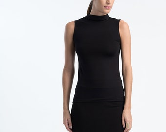 8d8a09a748dc1 Sleeveless Top   High Neck Top   Jersey Top   Unique Black Top   Fitted Top    Mock Turtleneck Top   Marcellamoda - MB1065