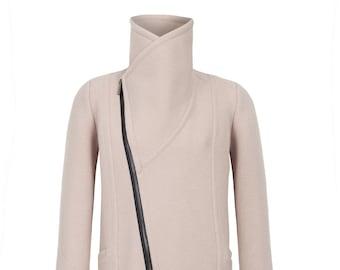 Stylish Jacket / High Collar Sweater Jacket / Asymmetric Jacket / Trench Coat / Wool Jacket / Designer Coat / Marcellamoda - MC0786
