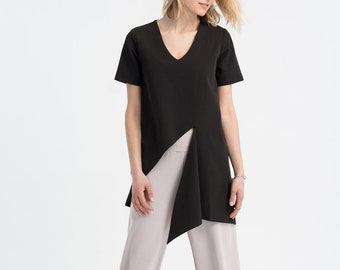 NEW Asymmetric Blouse / Short Sleeve Blouse / Loose Fitting Top / Black Shirt / Cut Out Top / V-Neckline Top / Marcellamoda - MB1030