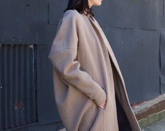 Designer Wool Jacket, Oversized Coat, Crew Neck Winter Coat, Long Wool Jacket, Cocoon Coat, Aretha Wool Coat, Marcella - MC1213