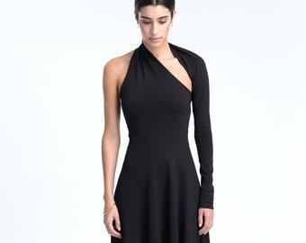 aed37bab1e One Sleeve Dress   Black Dress   Cocktail Dress   Maxi Dress   Long Dress    Asymmetric Dress   Marcellamoda - MD1008