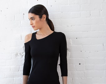 b96ba58d NEW Cut-Out Shoulder Top / Asymmetric Neckline Top / Black Top / Casual  Blouse / Fitted Top / Designer Top / Marcellamoda - MB1319