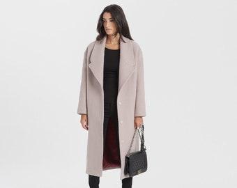 Long Wool Coat, Elegant Wool Jacket, Collared Coat, Warm Winter Coat, Black Coat, Elizabeth Wool Coat, Marcella - MC1397