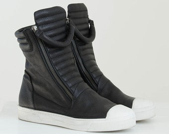 Leather Sneaker Boots, Platform Boots, Winter Boots, Ankle Boots, Women's Boots, Zipper Shoes, Karma Boots, Marcella - MS0984
