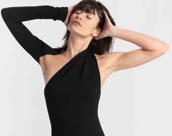 NEW Open Back Dress, Midi Dress, Elegant Dress, Asymmetrical Dress, One Shoulder Pencil Dress, Manhattan One Shoulder Midi Dress, MD0003