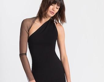 NEW Mesh Sleeve Dress, One Shoulder Midi Dress, Open Back Dress, Off The Shoulder Dress, Manhattan One Shoulder Midi Dress, Marcella- MD0003