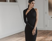 NEW One Shoulder Gown, Backless Dress, One Sleeve Dress, Event Gown, Floor Length Dress, Manhattan One Shoulder Gown, Marcella - MD0141
