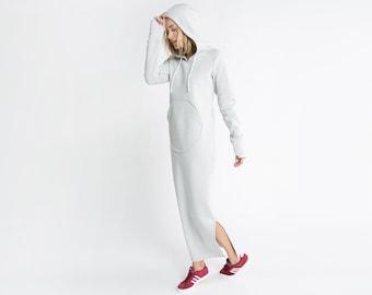 Designer Sweatshirt Dress, Hoodie Dress, Oversized Hoodie with Front Pocket, Athleisure Dress, Cleo sweatshirt Dress, Marcella - MD0936