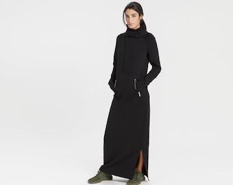 Sweatshirt Dress, Maxi Dress, Long Hoodie, Hooded Winter Dress, Long Dress with Hood, Elba Sweatshirt Dress, Marcella - MD1656