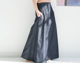 b649fb4e92d Denim Maxi Skirt   Jeans Skirt   Long Skirt   Wide Skirt   Skirt with  Pockets   Summer Maxi Skirt   Marcellamoda - MP0758