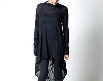 Black Tunic / Loose Fitting Top / Asymmetrical Blouse / Long Sleeve Tunic / Casual Tunic / Everyday Shirt/ Marcellamoda - MB0103