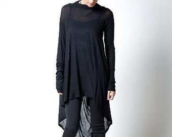 ca73800397d Black Tunic / Loose Fitting Top / Asymmetrical Blouse / Long Sleeve Tunic /  Casual Tunic / Everyday Shirt/ Marcellamoda - MB0103